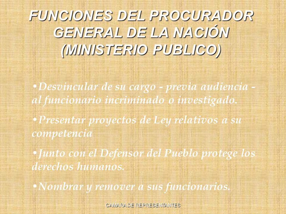 FUNCIONES DEL PROCURADOR GENERAL DE LA NACIÓN (MINISTERIO PUBLICO) Desvincular de su cargo - previa audiencia - al funcionario incriminado o investigado.