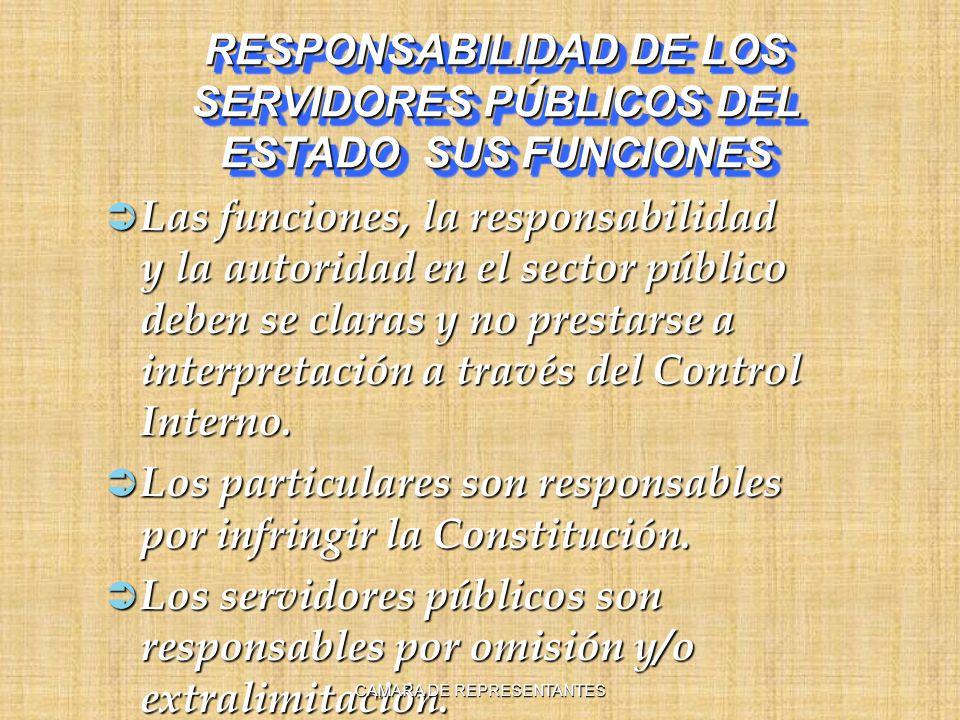 RESPONSABILIDAD DE LOS SERVIDORES PÚBLICOS DEL ESTADO SUS FUNCIONES Las funciones, la responsabilidad y la autoridad en el sector público deben se claras y no prestarse a interpretación a través del Control Interno.