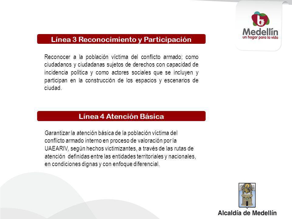 Línea 5 Restablecimiento Integral Garantizar el acceso de la población victima del conflicto armado interno al goce efectivo de derechos y el restablecimiento integral, desde el enfoque diferencial y de derechos, a través de la coordinación de esfuerzos de las entidades involucradas en la integración local.