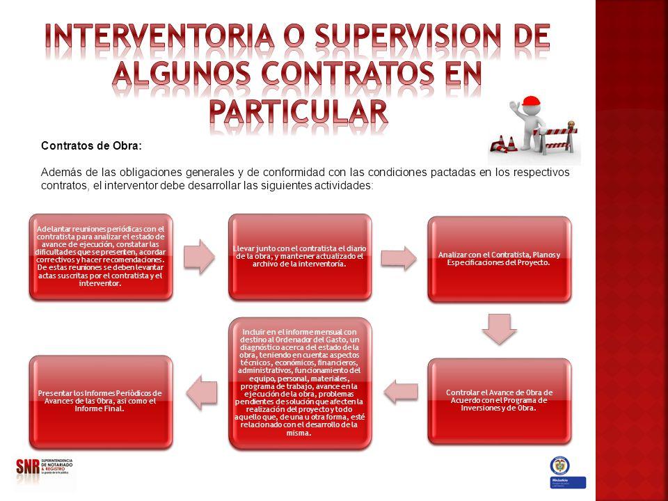 Contratos de Obra: Además de las obligaciones generales y de conformidad con las condiciones pactadas en los respectivos contratos, el interventor deb