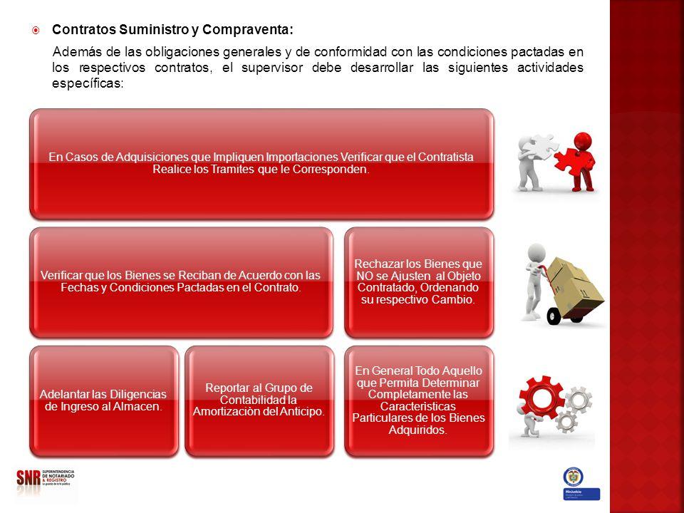Contratos Suministro y Compraventa: Además de las obligaciones generales y de conformidad con las condiciones pactadas en los respectivos contratos, e