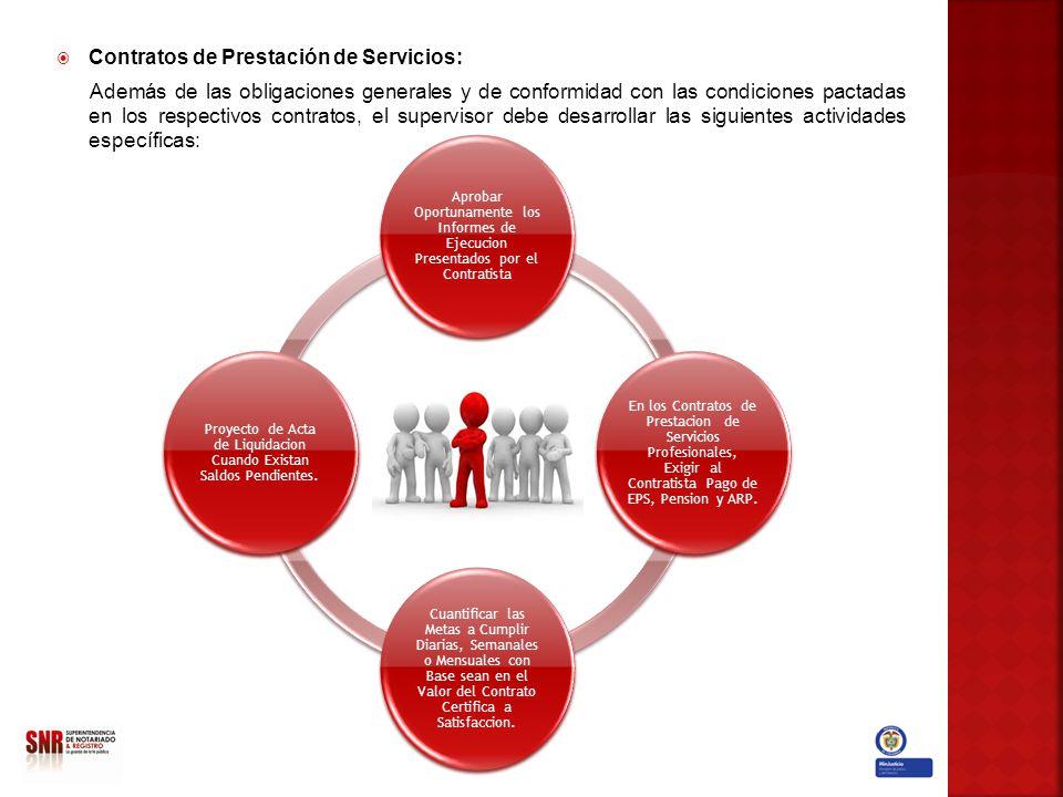 Contratos de Prestación de Servicios: Además de las obligaciones generales y de conformidad con las condiciones pactadas en los respectivos contratos,