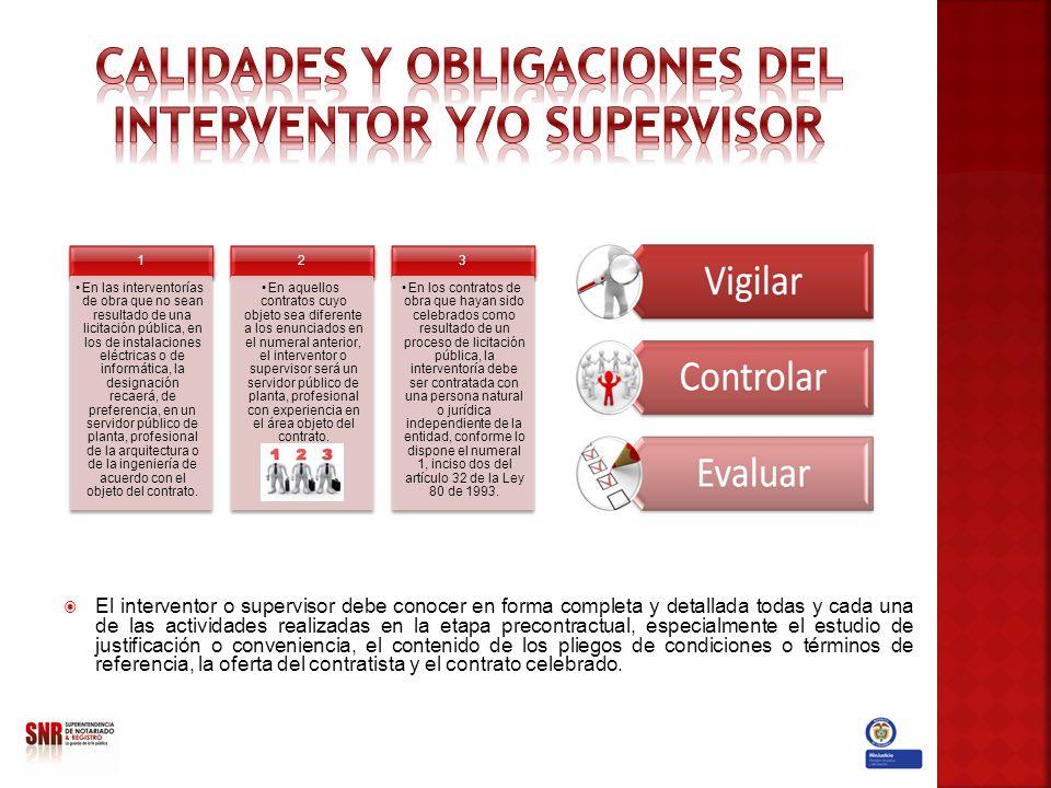 El interventor o supervisor debe conocer en forma completa y detallada todas y cada una de las actividades realizadas en la etapa precontractual, espe