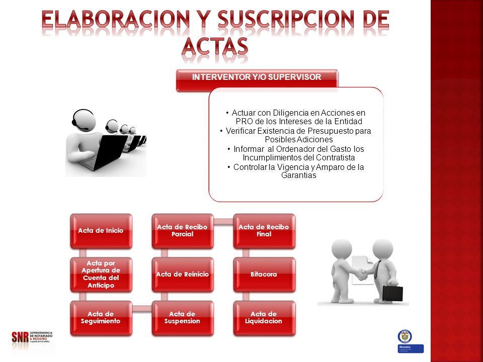 INTERVENTOR Y/O SUPERVISOR Actuar con Diligencia en Acciones en PRO de los Intereses de la Entidad Verificar Existencia de Presupuesto para Posibles A