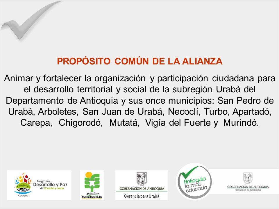 Gerencia para Urabá PROPÓSITO COMÚN DE LA ALIANZA Animar y fortalecer la organización y participación ciudadana para el desarrollo territorial y socia
