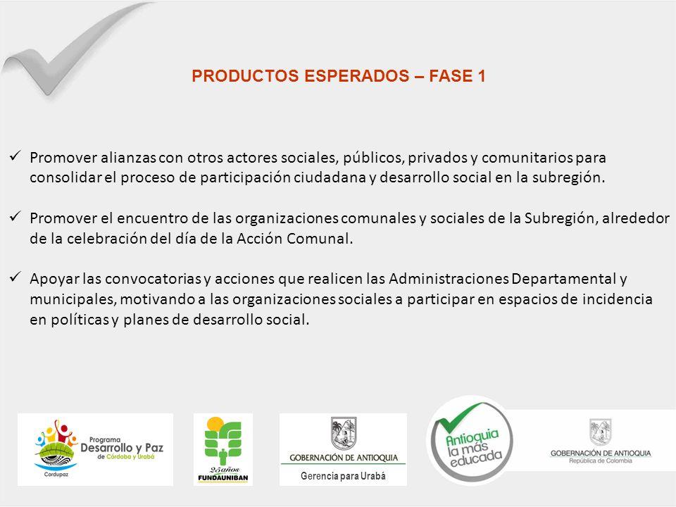 Gerencia para Urabá PRODUCTOS ESPERADOS – FASE 1 Promover alianzas con otros actores sociales, públicos, privados y comunitarios para consolidar el proceso de participación ciudadana y desarrollo social en la subregión.
