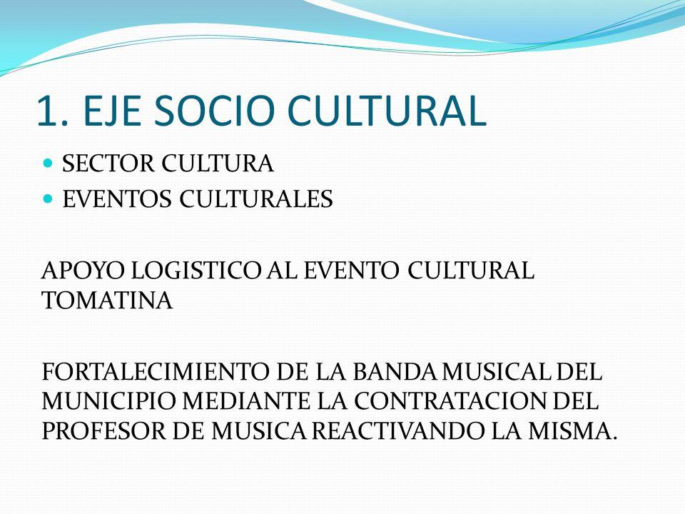 1. EJE SOCIO CULTURAL SECTOR CULTURA EVENTOS CULTURALES APOYO LOGISTICO AL EVENTO CULTURAL TOMATINA FORTALECIMIENTO DE LA BANDA MUSICAL DEL MUNICIPIO