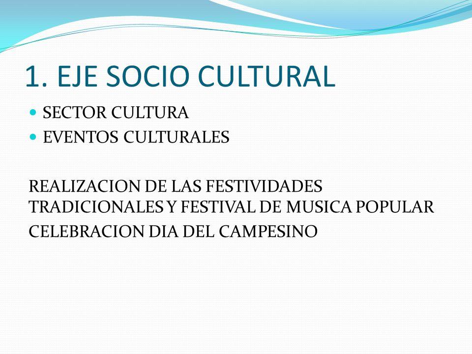 1. EJE SOCIO CULTURAL SECTOR CULTURA EVENTOS CULTURALES REALIZACION DE LAS FESTIVIDADES TRADICIONALES Y FESTIVAL DE MUSICA POPULAR CELEBRACION DIA DEL