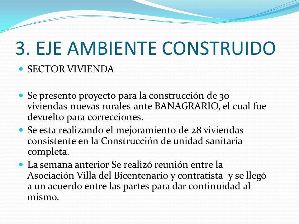 3. EJE AMBIENTE CONSTRUIDO SECTOR VIVIENDA Se presento proyecto para la construcción de 30 viviendas nuevas rurales ante BANAGRARIO, el cual fue devue