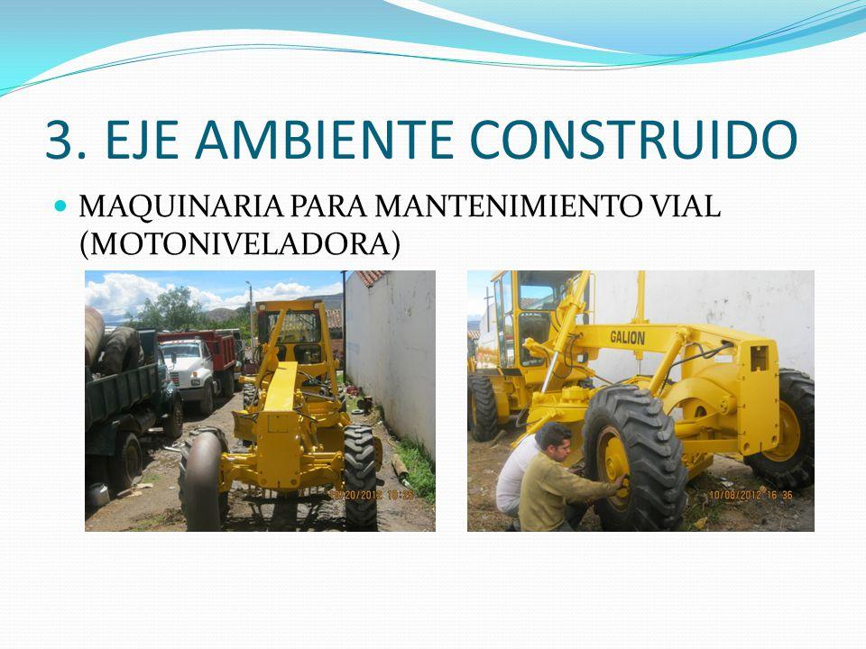 3. EJE AMBIENTE CONSTRUIDO MAQUINARIA PARA MANTENIMIENTO VIAL (MOTONIVELADORA)
