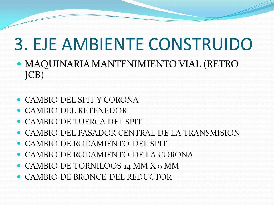 3. EJE AMBIENTE CONSTRUIDO MAQUINARIA MANTENIMIENTO VIAL (RETRO JCB) CAMBIO DEL SPIT Y CORONA CAMBIO DEL RETENEDOR CAMBIO DE TUERCA DEL SPIT CAMBIO DE