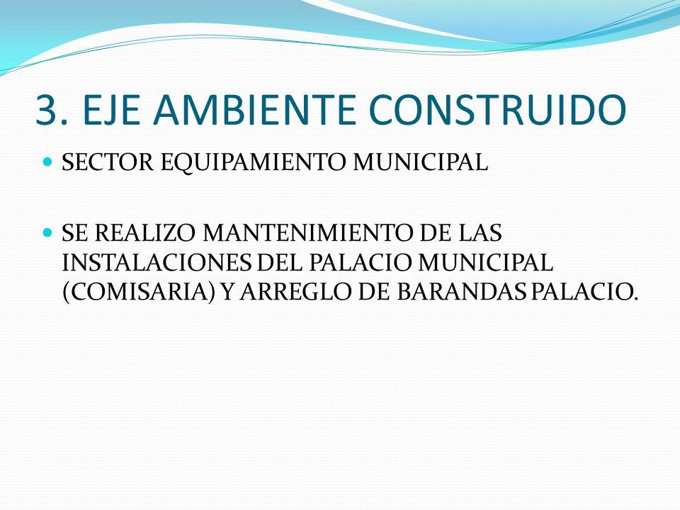 3. EJE AMBIENTE CONSTRUIDO SECTOR EQUIPAMIENTO MUNICIPAL SE REALIZO MANTENIMIENTO DE LAS INSTALACIONES DEL PALACIO MUNICIPAL (COMISARIA) Y ARREGLO DE