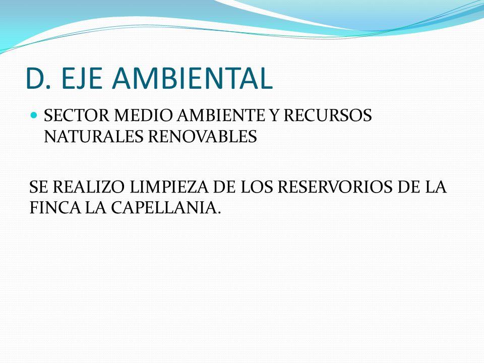 D. EJE AMBIENTAL SECTOR MEDIO AMBIENTE Y RECURSOS NATURALES RENOVABLES SE REALIZO LIMPIEZA DE LOS RESERVORIOS DE LA FINCA LA CAPELLANIA.