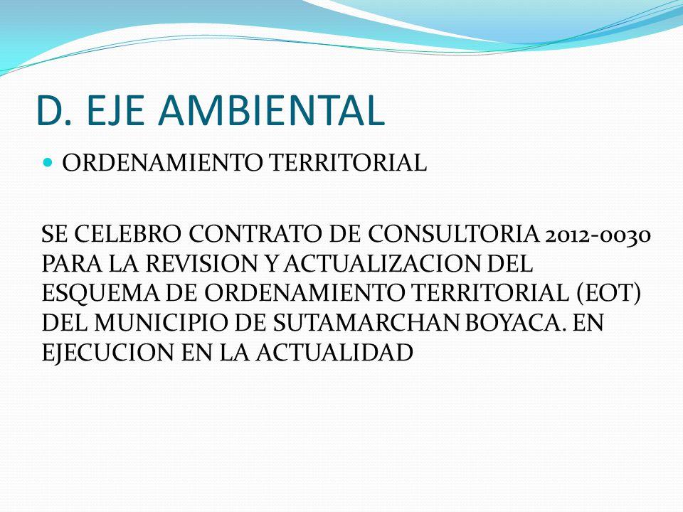 D. EJE AMBIENTAL ORDENAMIENTO TERRITORIAL SE CELEBRO CONTRATO DE CONSULTORIA 2012-0030 PARA LA REVISION Y ACTUALIZACION DEL ESQUEMA DE ORDENAMIENTO TE
