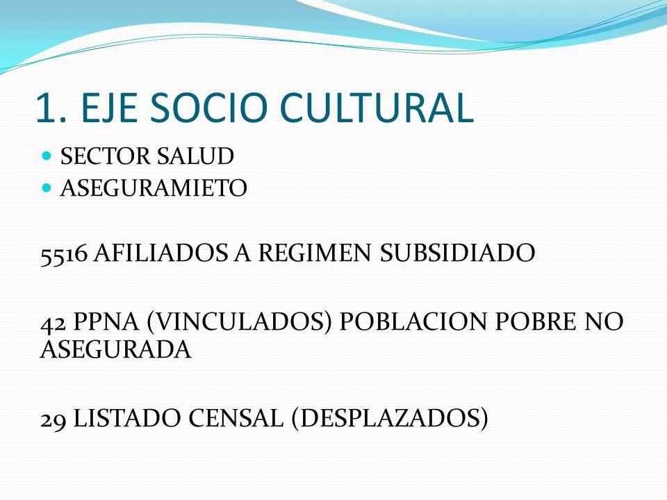 1. EJE SOCIO CULTURAL SECTOR SALUD ASEGURAMIETO 5516 AFILIADOS A REGIMEN SUBSIDIADO 42 PPNA (VINCULADOS) POBLACION POBRE NO ASEGURADA 29 LISTADO CENSA