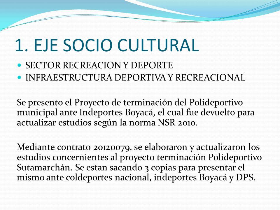 1. EJE SOCIO CULTURAL SECTOR RECREACION Y DEPORTE INFRAESTRUCTURA DEPORTIVA Y RECREACIONAL Se presento el Proyecto de terminación del Polideportivo mu