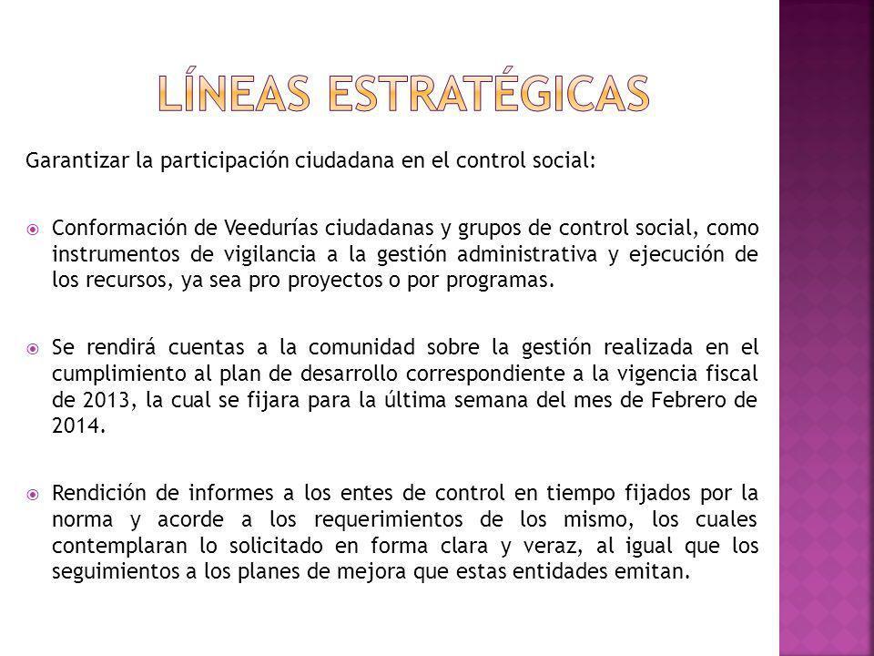 Garantizar la participación ciudadana en el control social: Conformación de Veedurías ciudadanas y grupos de control social, como instrumentos de vigi