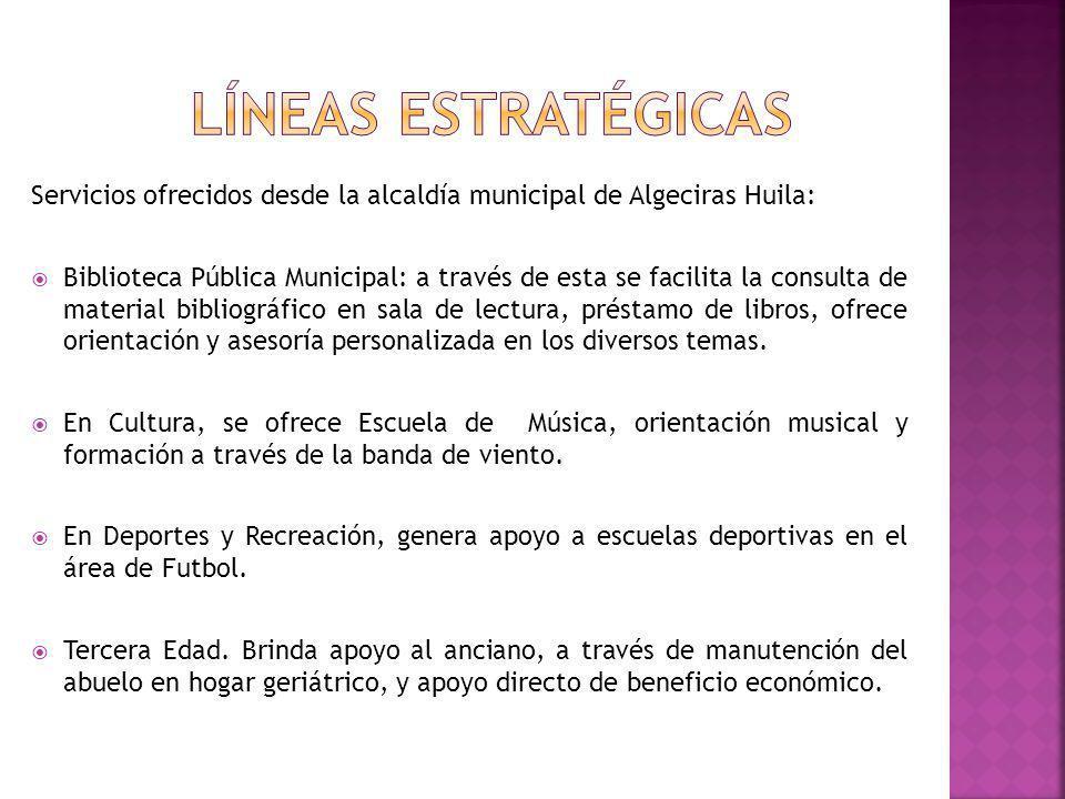 Servicios ofrecidos desde la alcaldía municipal de Algeciras Huila: Biblioteca Pública Municipal: a través de esta se facilita la consulta de material