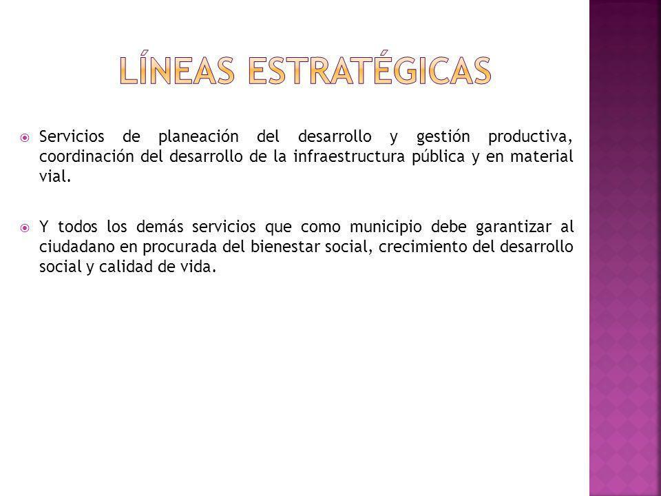Servicios de planeación del desarrollo y gestión productiva, coordinación del desarrollo de la infraestructura pública y en material vial. Y todos los