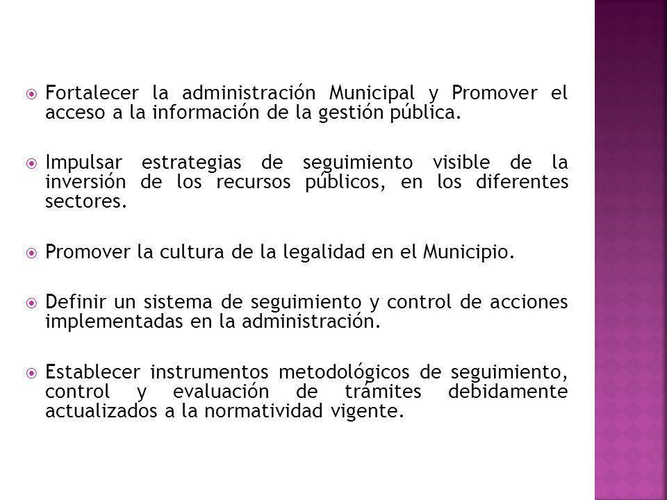 Fortalecer la administración Municipal y Promover el acceso a la información de la gestión pública. Impulsar estrategias de seguimiento visible de la
