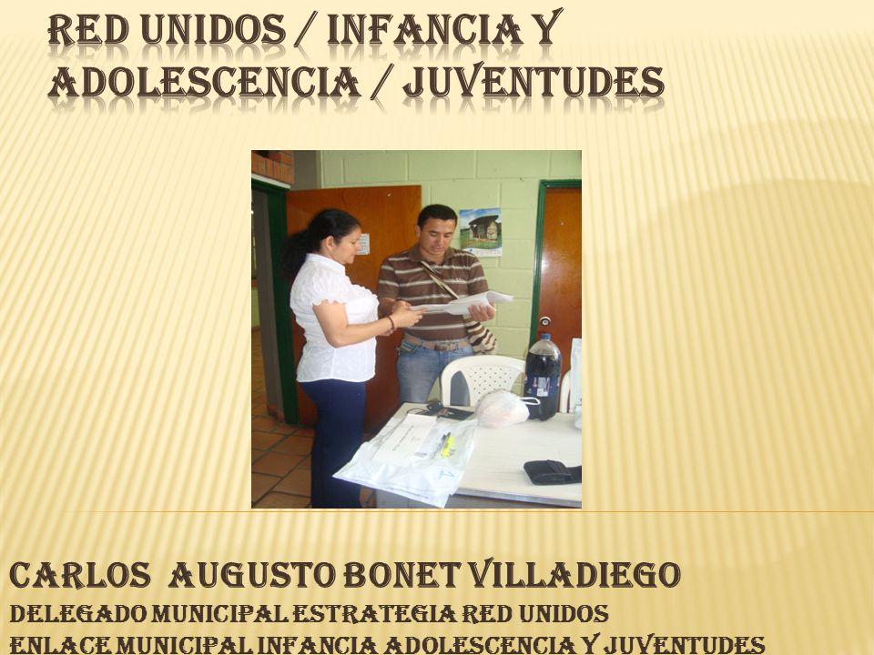 CARLOS AUGUSTO BONET VILLADIEGO Delegado Municipal Estrategia Red Unidos Enlace Municipal Infancia Adolescencia y juventudes