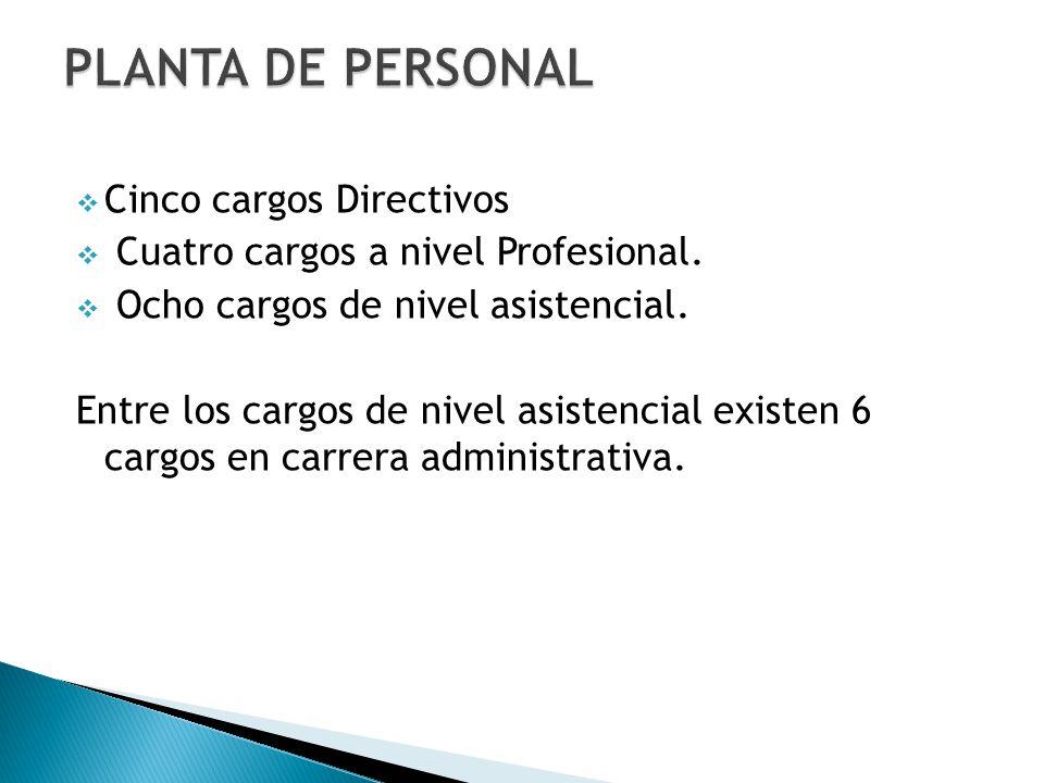 Cinco cargos Directivos Cuatro cargos a nivel Profesional.