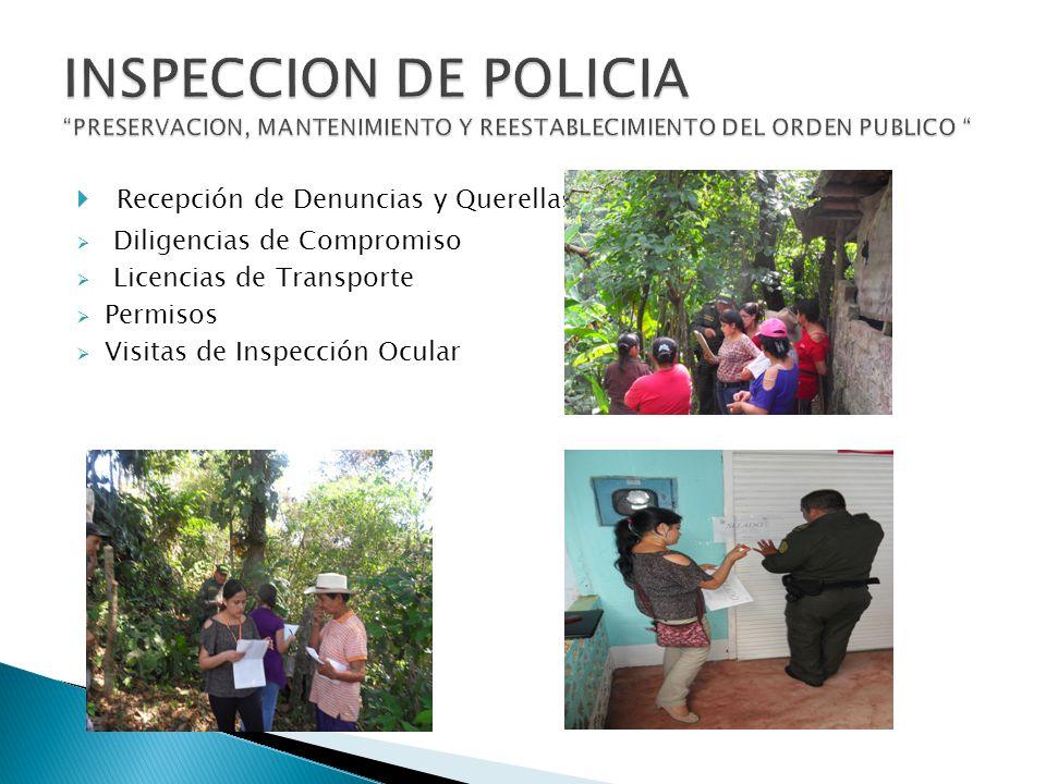 Recepción de Denuncias y Querellas Diligencias de Compromiso Licencias de Transporte Permisos Visitas de Inspección Ocular