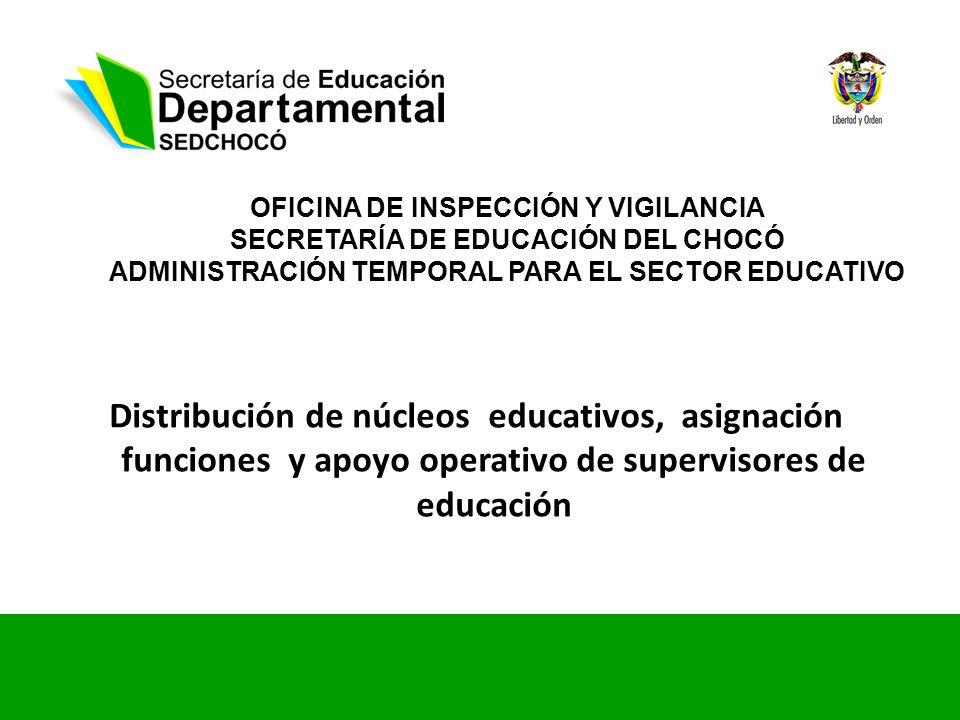 OFICINA DE INSPECCIÓN Y VIGILANCIA SECRETARÍA DE EDUCACIÓN DEL CHOCÓ ADMINISTRACIÓN TEMPORAL PARA EL SECTOR EDUCATIVO Distribución de núcleos educativ