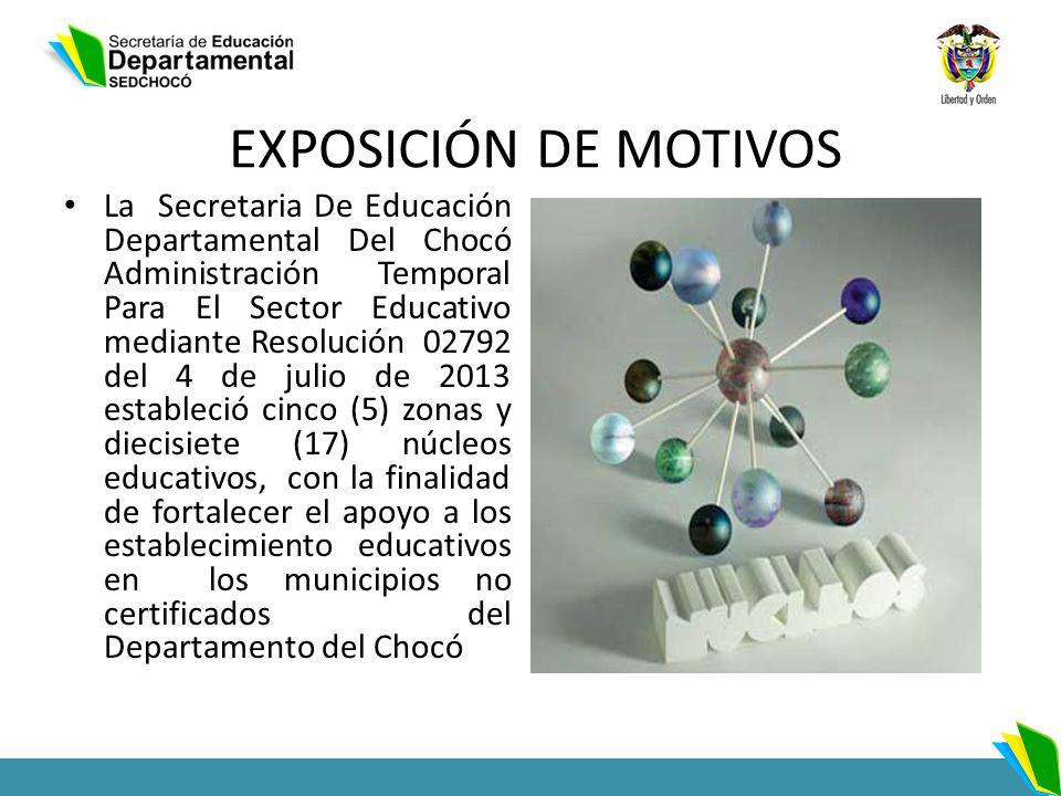 EXPOSICIÓN DE MOTIVOS La Secretaria De Educación Departamental Del Chocó Administración Temporal Para El Sector Educativo mediante Resolución 02792 de