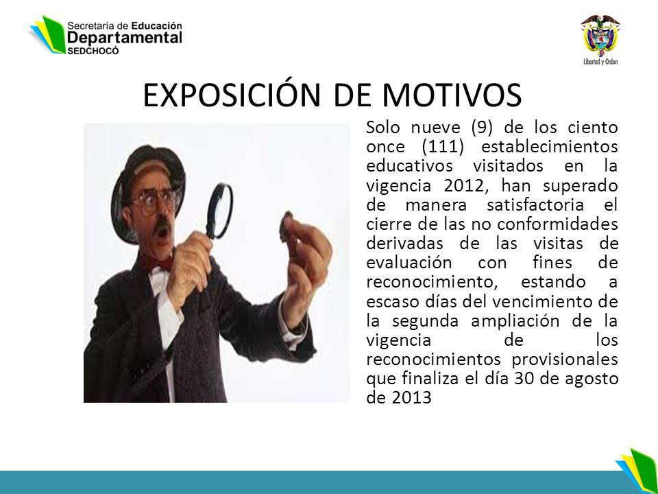 EXPOSICIÓN DE MOTIVOS Solo nueve (9) de los ciento once (111) establecimientos educativos visitados en la vigencia 2012, han superado de manera satisf