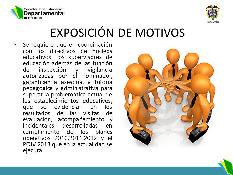 EXPOSICIÓN DE MOTIVOS Se requiere que en coordinación con los directivos de núcleos educativos, los supervisores de educación además de las función de