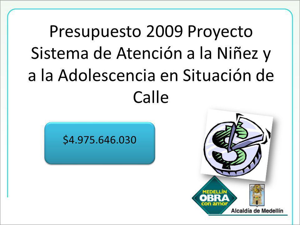 Presupuesto 2009 Proyecto Sistema de Atención a la Niñez y a la Adolescencia en Situación de Calle $4.975.646.030