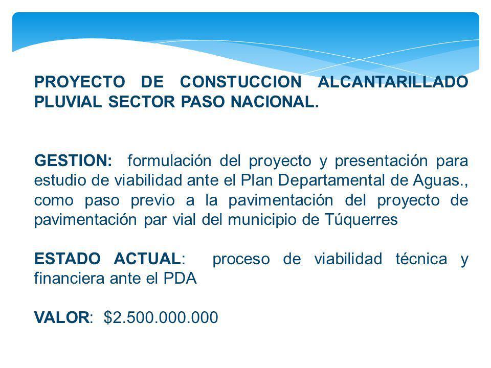PROYECTO DE CONSTUCCION ALCANTARILLADO PLUVIAL SECTOR PASO NACIONAL. GESTION: formulación del proyecto y presentación para estudio de viabilidad ante