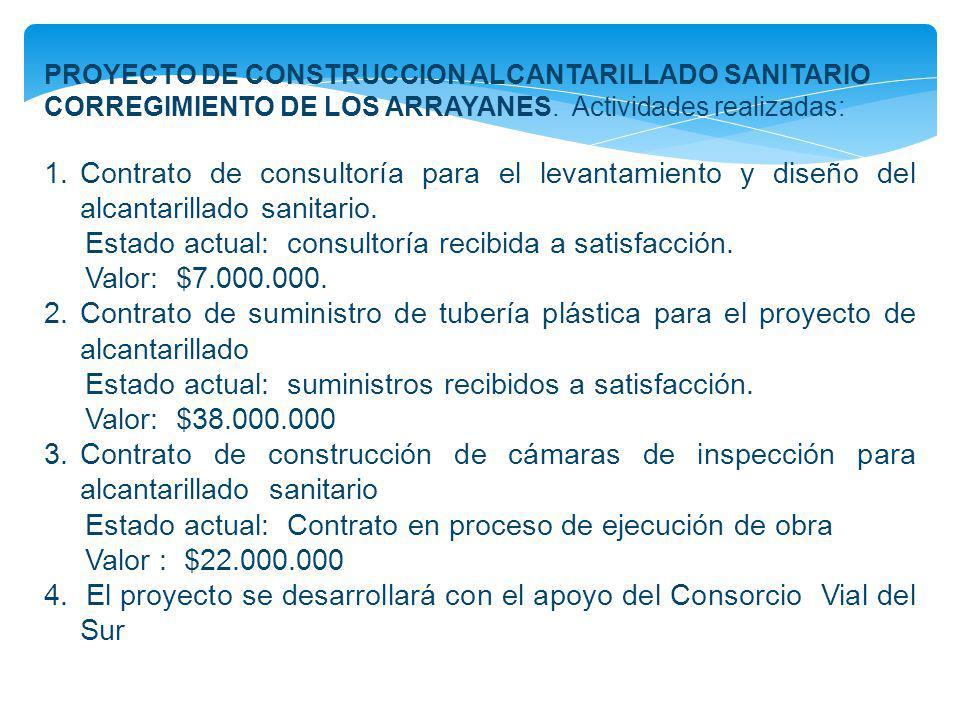PROYECTO DE CONSTRUCCION ALCANTARILLADO SANITARIO CORREGIMIENTO DE LOS ARRAYANES. Actividades realizadas: 1.Contrato de consultoría para el levantamie