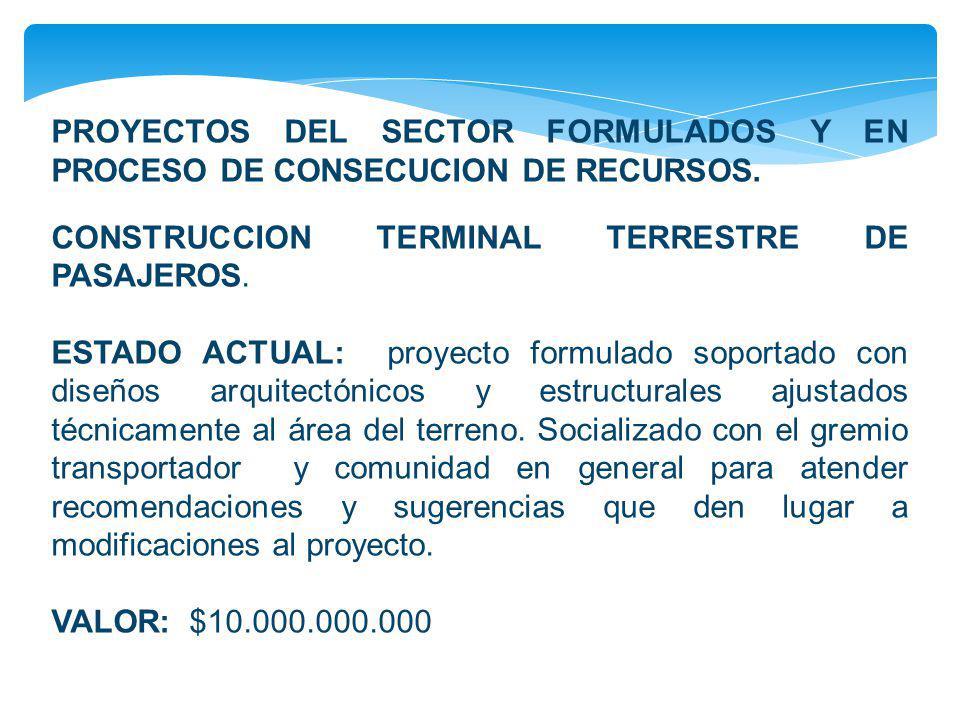 PROYECTOS DEL SECTOR FORMULADOS Y EN PROCESO DE CONSECUCION DE RECURSOS. CONSTRUCCION TERMINAL TERRESTRE DE PASAJEROS. ESTADO ACTUAL: proyecto formula