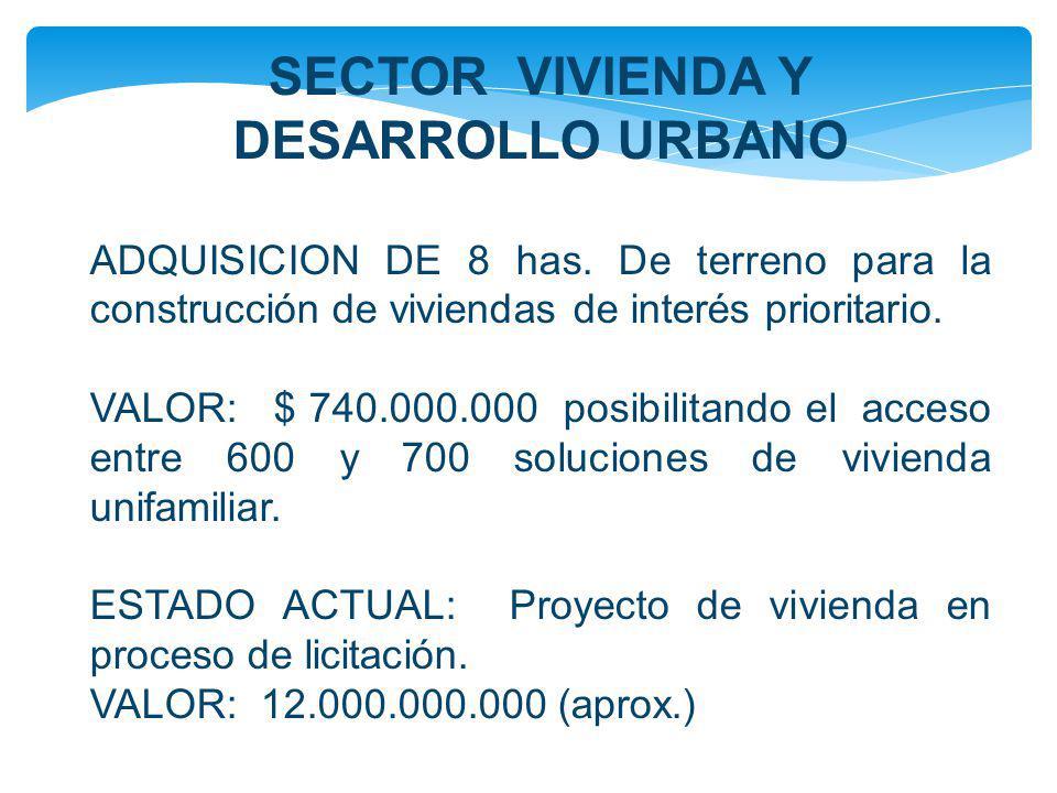 SECTOR VIVIENDA Y DESARROLLO URBANO ADQUISICION DE 8 has. De terreno para la construcción de viviendas de interés prioritario. VALOR: $ 740.000.000 po