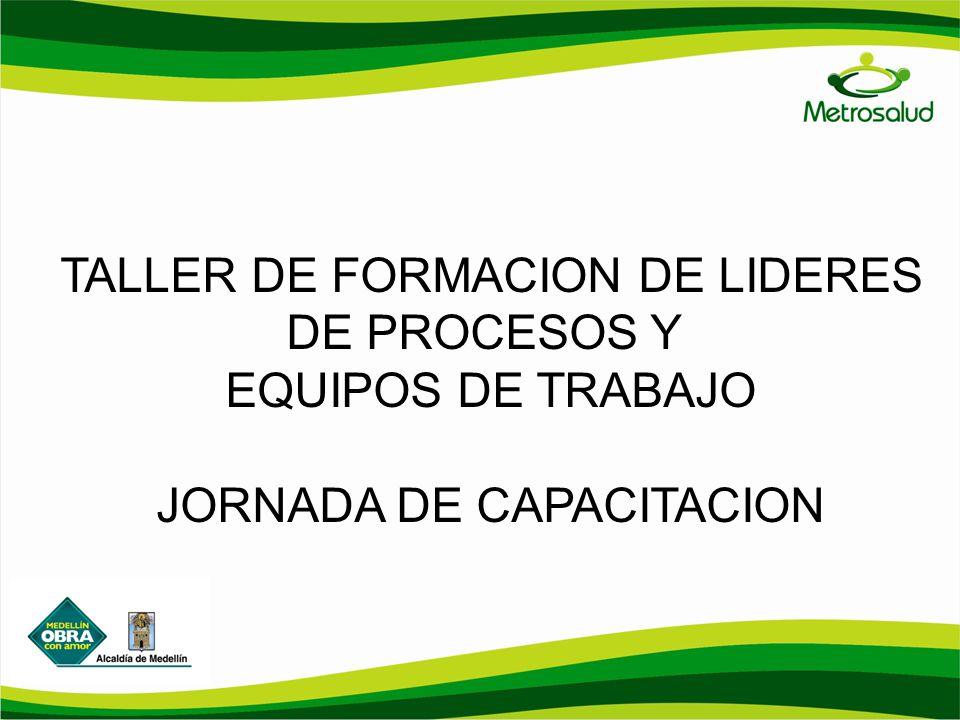 TALLER DE FORMACION DE LIDERES DE PROCESOS Y EQUIPOS DE TRABAJO JORNADA DE CAPACITACION