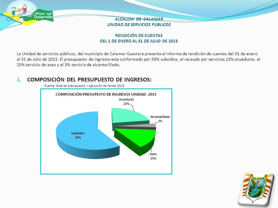 La Unidad de servicios públicos, del municipio de Calamar Guaviare presenta el informe de rendición de cuentas del 01 de enero al 31 de Julio de 2013.