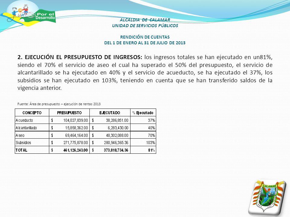 ALCALDIA DE CALAMAR UNIDAD DE SERVICIOS PÚBLICOS RENDICIÓN DE CUENTAS DEL 1 DE ENERO AL 31 DE JULIO DE 2013 2.