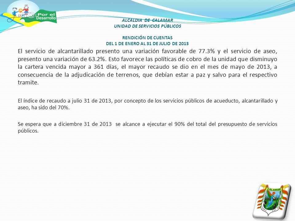 ALCALDIA DE CALAMAR UNIDAD DE SERVICIOS PÚBLICOS RENDICIÓN DE CUENTAS DEL 1 DE ENERO AL 31 DE JULIO DE 2013 El servicio de alcantarillado presento una variación favorable de 77.3% y el servicio de aseo, presento una variación de 63.2%.