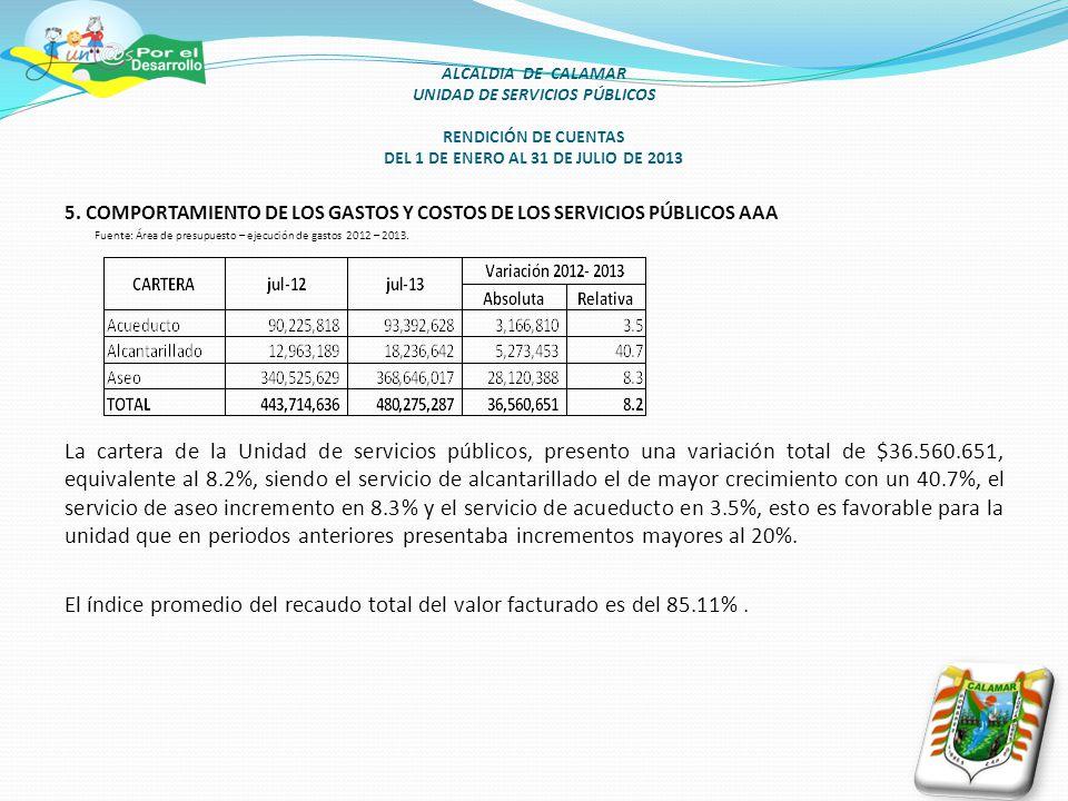 ALCALDIA DE CALAMAR UNIDAD DE SERVICIOS PÚBLICOS RENDICIÓN DE CUENTAS DEL 1 DE ENERO AL 31 DE JULIO DE 2013 5.
