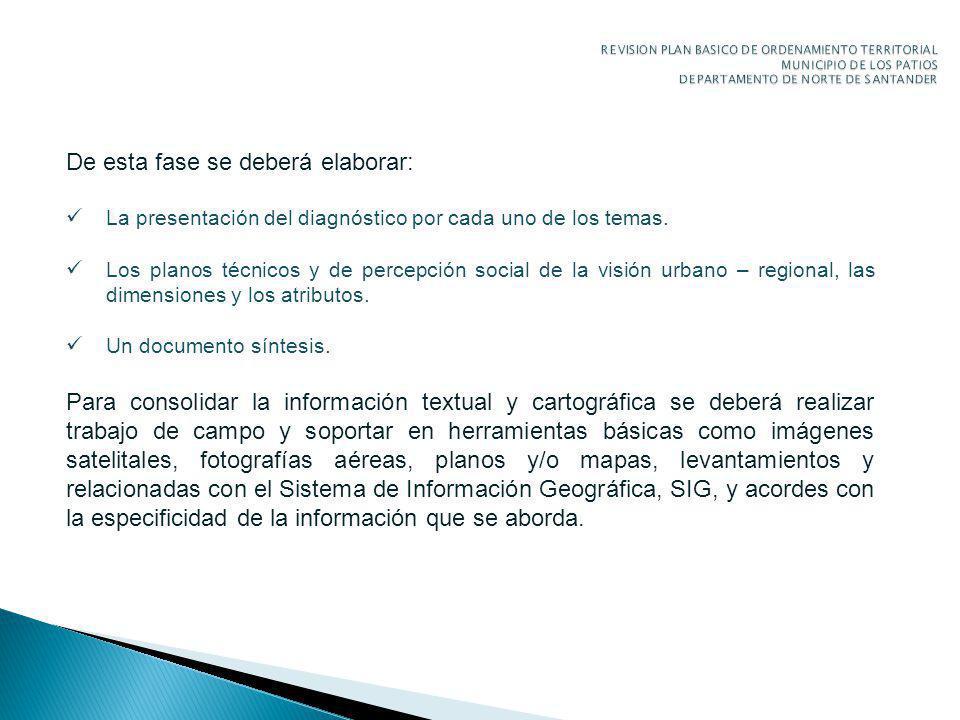 De esta fase se deberá elaborar: La presentación del diagnóstico por cada uno de los temas.