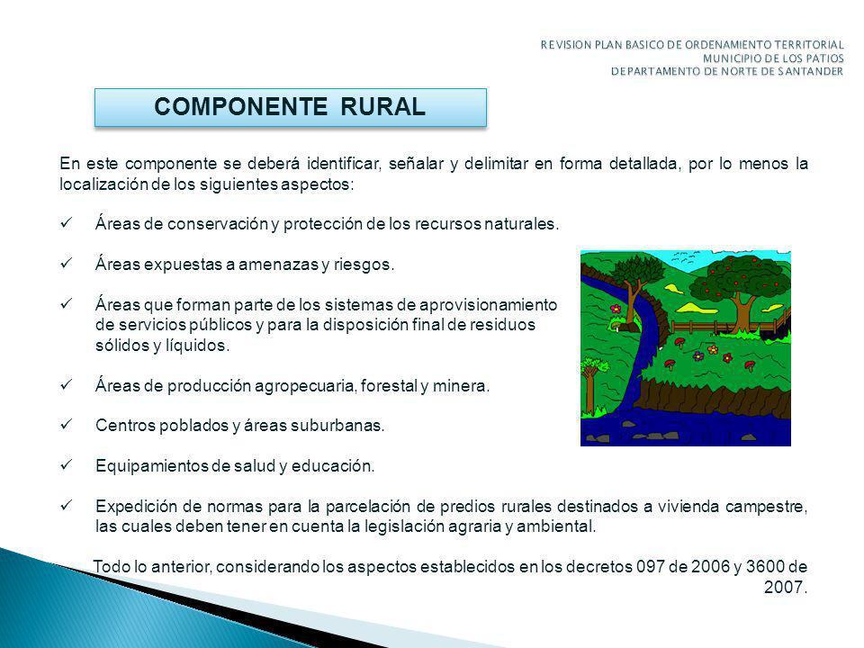 COMPONENTE RURAL En este componente se deberá identificar, señalar y delimitar en forma detallada, por lo menos la localización de los siguientes aspectos: Áreas de conservación y protección de los recursos naturales.