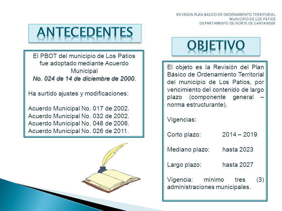 El PBOT del municipio de Los Patios fue adoptado mediante Acuerdo Municipal No.