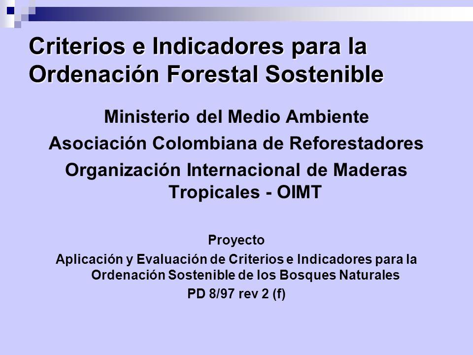 Criterios e Indicadores para la Ordenación Forestal Sostenible Ministerio del Medio Ambiente Asociación Colombiana de Reforestadores Organización Inte
