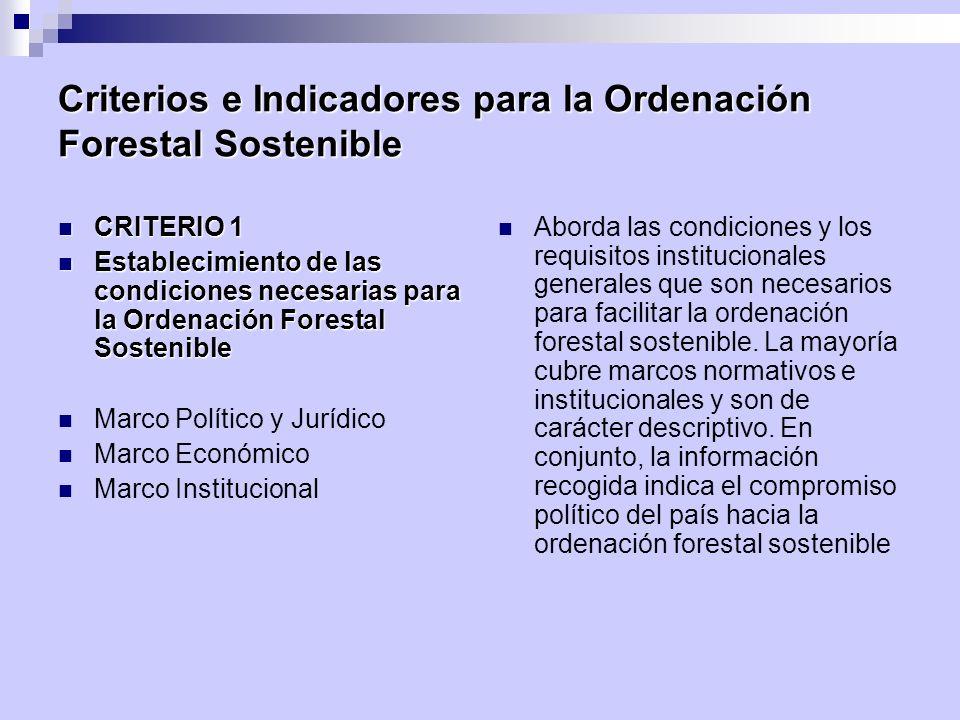 Criterios e Indicadores para la Ordenación Forestal Sostenible CRITERIO 1 CRITERIO 1 Establecimiento de las condiciones necesarias para la Ordenación