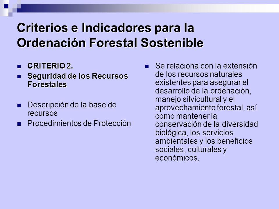 Criterios e Indicadores para la Ordenación Forestal Sostenible CRITERIO 2. CRITERIO 2. Seguridad de los Recursos Forestales Seguridad de los Recursos