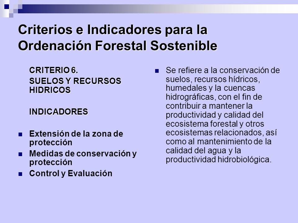 Criterios e Indicadores para la Ordenación Forestal Sostenible CRITERIO 6. SUELOS Y RECURSOS HIDRICOS INDICADORES Extensión de la zona de protección M