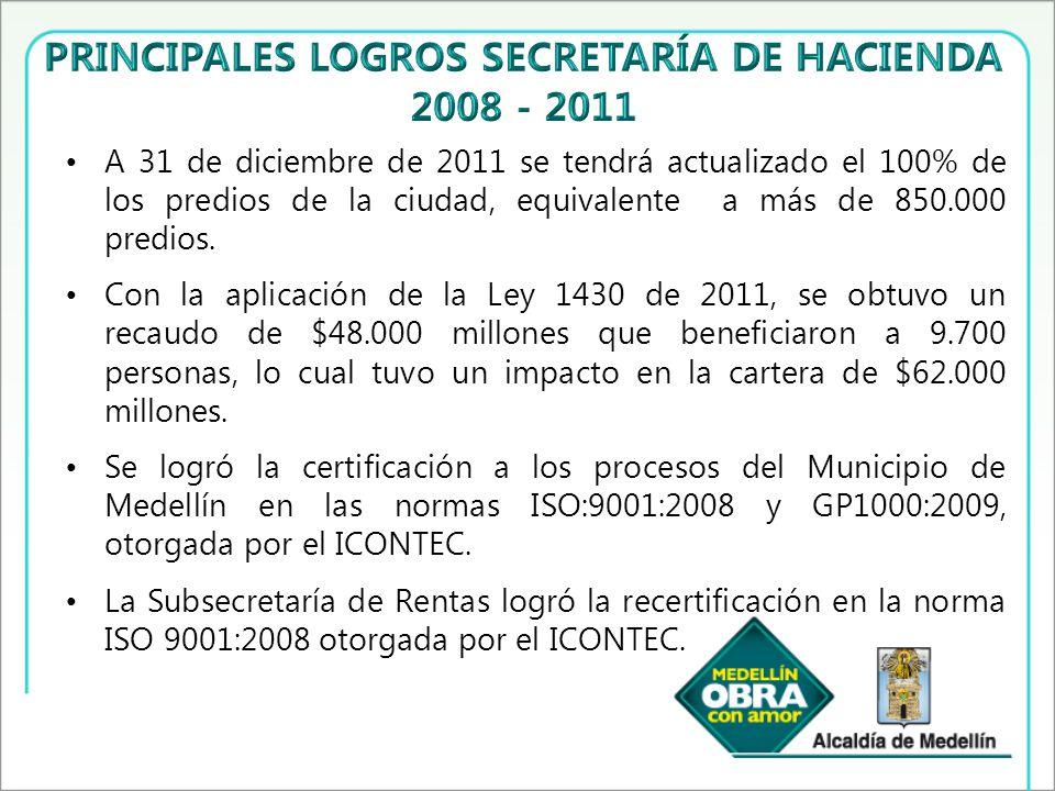A 31 de diciembre de 2011 se tendrá actualizado el 100% de los predios de la ciudad, equivalente a más de 850.000 predios.