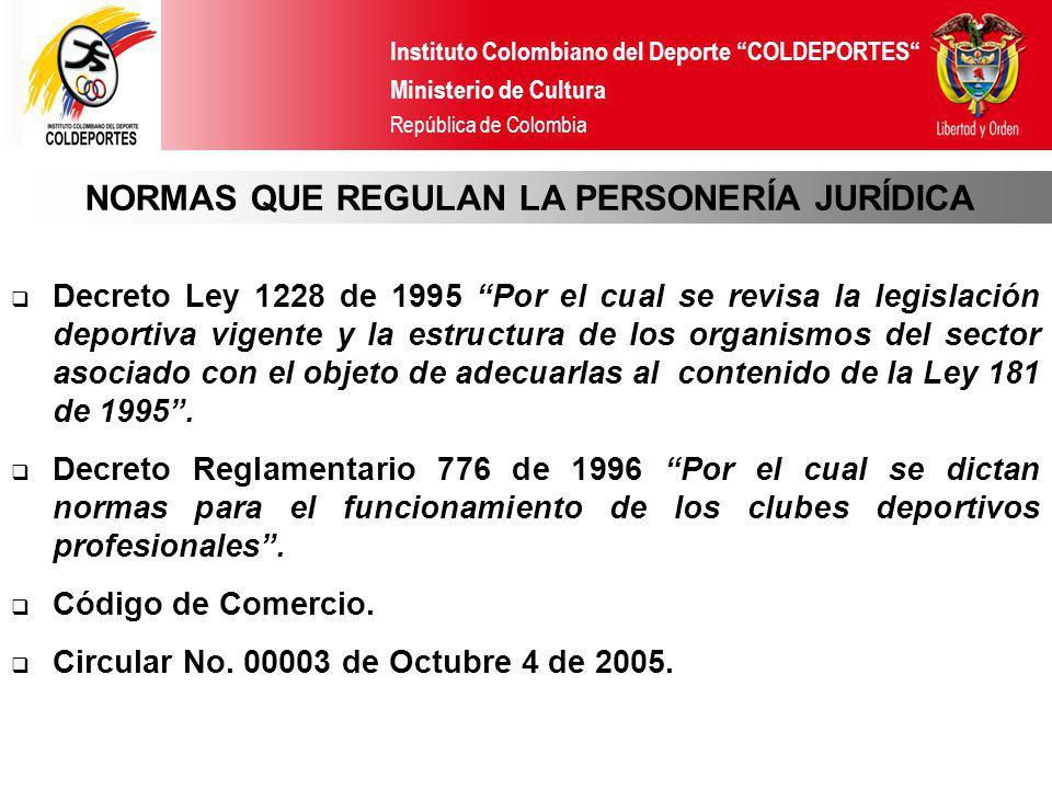Instituto Colombiano del Deporte COLDEPORTES Ministerio de Cultura República de Colombia Decreto Ley 1228 de 1995 Por el cual se revisa la legislación